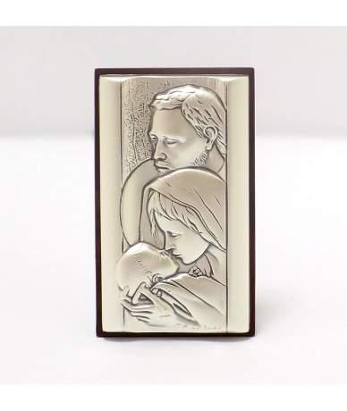 Ezüstözött Szent családot ábrázoló ikon