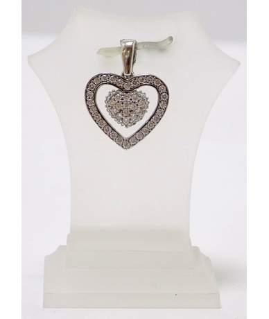 Fehér arany köves szív medál