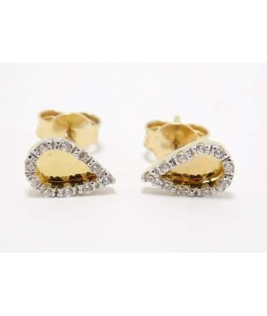 Tropfenförmige Ohrring aus Gelbgold