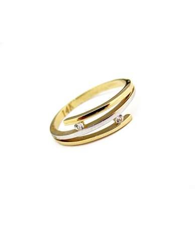 Kétszínű cirkónia köves arany gyűrű
