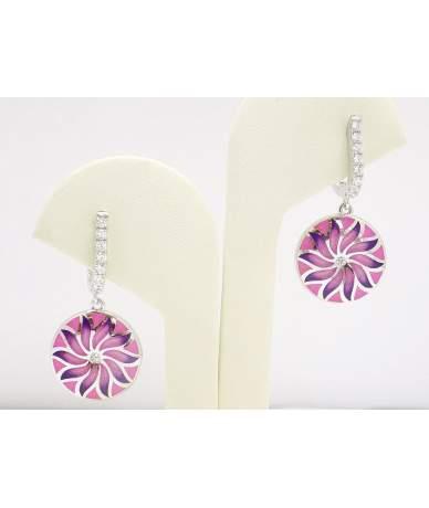 Rózsaszín virágos ezüst fülbevaló