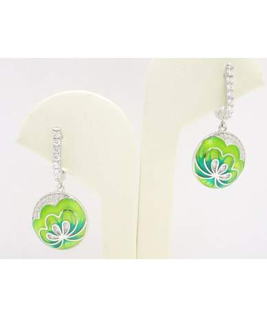 Zöld virágos ezüst fülbevaló