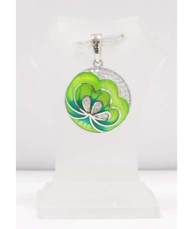 Zöld virágos ezüst medál