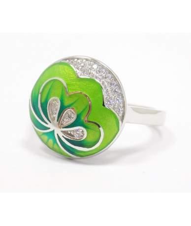 Zöld virágos ezüst gyűrű