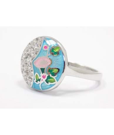 Kék virágos ezüst gyűrű