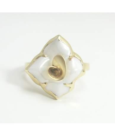 Női arany gyűrű kerámia virággal