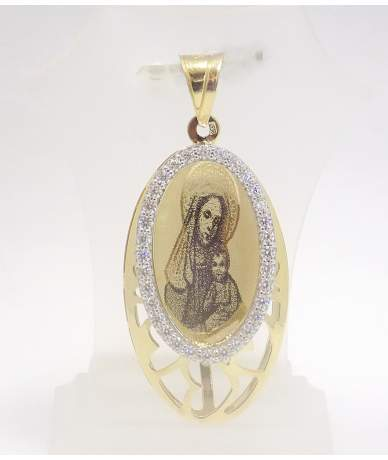 Gelbgoldene Anhänger mit Maria Darstellung