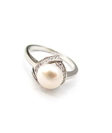 Ródiumozott ezüst , gyöngy gyűrű