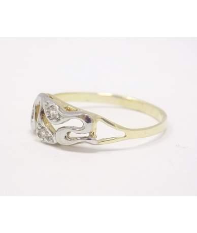 Kétszínű köves arany gyűrű