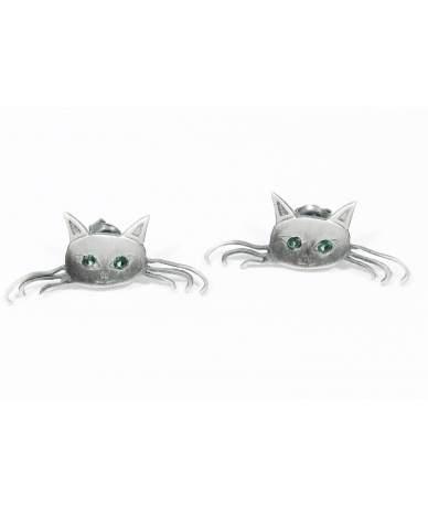 Ezüst cica fülbevaló