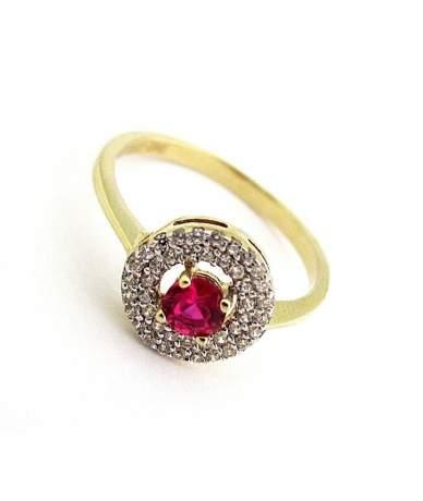 Arany gyűrű piros kővel