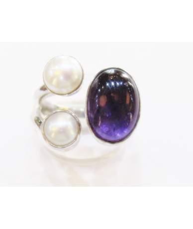Gyöngy és ametiszt köves ezüst gyűrű