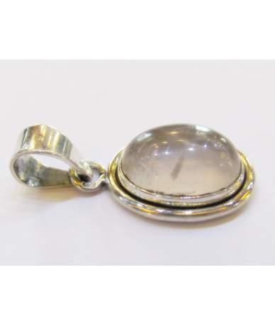 Rózsakvarc köves ezüst medál