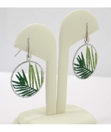 Zöld leveles ezüst lógós fülbevaló