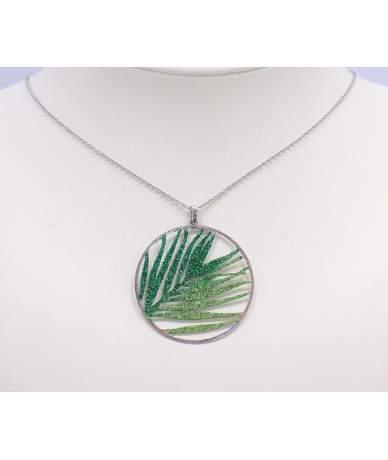 Ezüst zöld leveles medál lánccal
