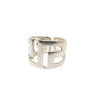 Ezüst női gyűrű áttört görög mintás