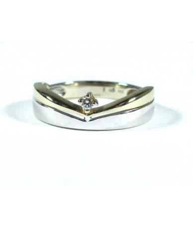 Sárga és fehér arany női gyűrű
