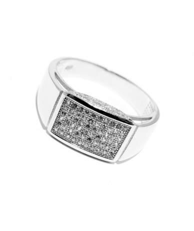Ezüst férfi köves pecsétgyűrű,emelt fejrésszel.
