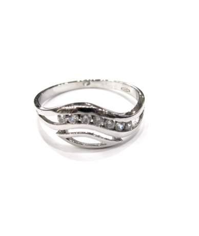 Fehér arany cirkonia köves női gyűrű