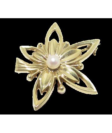 Arany női bross,virág mintájú,gyöngyös.