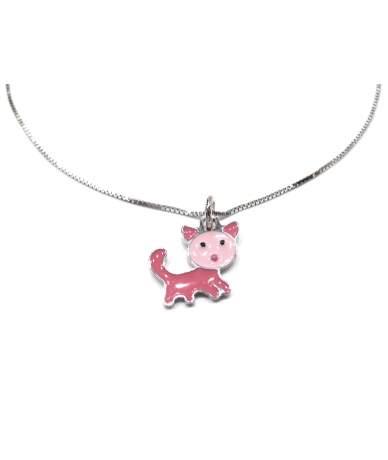 Rózsaszín cica medál ezüst...