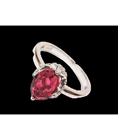 Ezüst női bordóköves gyűrű.