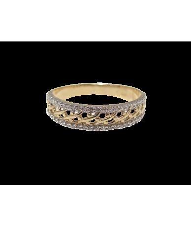 Arany női gyűrű,árrört mintás,köves.