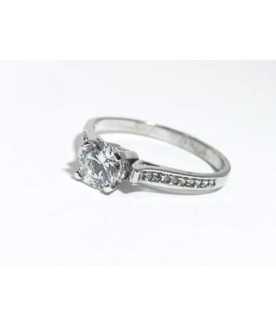 Fehér arany szoliter női gyűrű