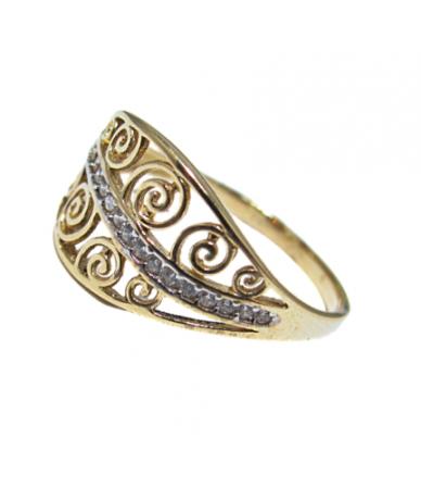 Arany női gyűrű,áttört,köves.