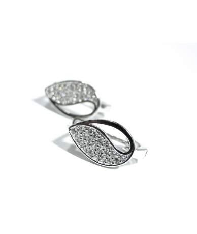 Ródiumozott, francia kapcsos ezüst fülbevaló