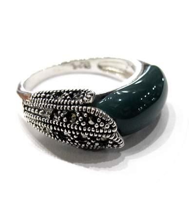 Malachit és markazit köves ezüst gyűrű