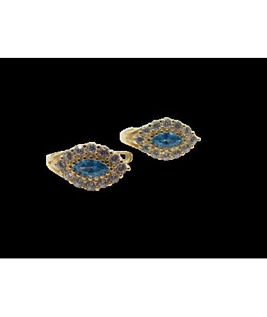 Arany fülbevaló,kék-fehér köves,csepp alakú.