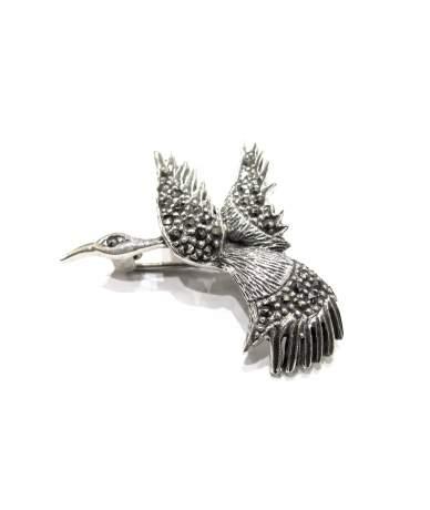 Ezüst gólya kitűző