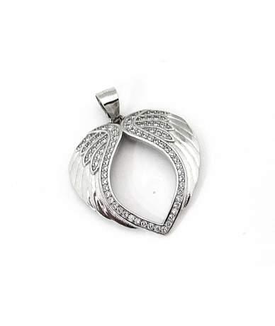 Ródiumozott ezüst szív medál