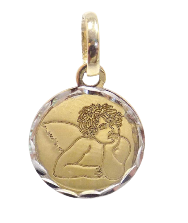 Kétszínű arany angyalka medál