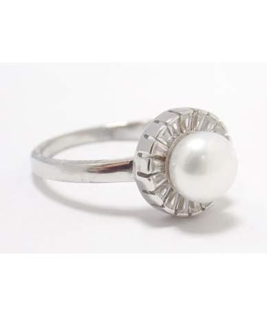 Gyöngyös-köves ezüst gyűrű