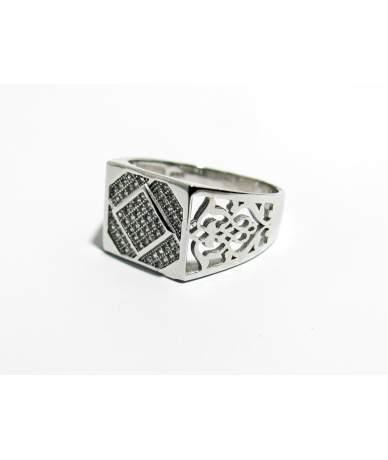 Ezüst férfi köves pecsétgyűrű