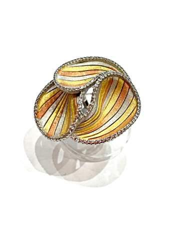 Aranyozott modern ezüst gyűrű
