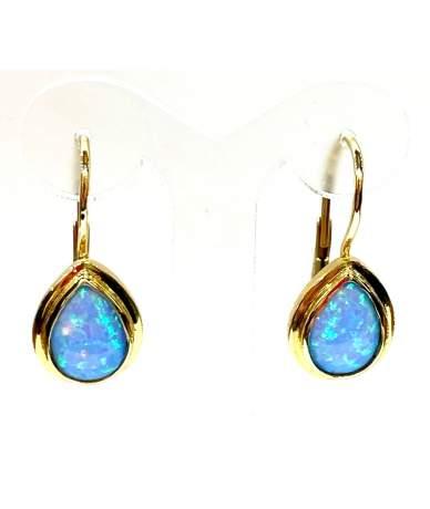 Kék opál köves arany fülbevaló