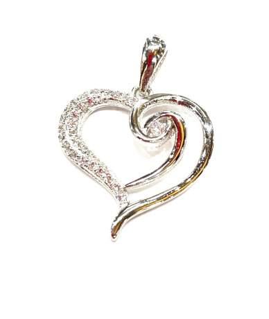 Stilizált köves ezüst szív...