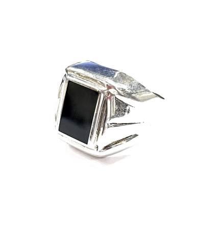 Ezüst pecsét gyűrű fekete...