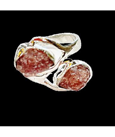 Ezüst gyűrű rubellit kővel.