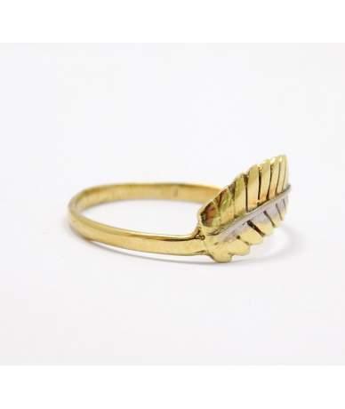 Kétszínű arany leveles gyűrű