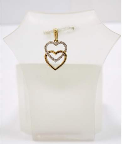 Sárga arany dupla szív medál