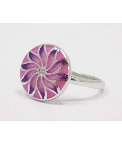 Rózsaszín virágos ezüst gyűrű