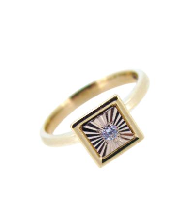 Drágakövekkel díszített rosé arany gyűrű